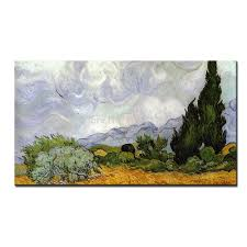 compare prices on cypress home decor online shopping buy low masterpiece reputation hand painted modern home decor impressionist oil painting wheat field with cypresses by