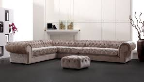 Tufted Sectional Sofa by Casa Metropolitan Transitional Acrylic Crystal Tufted Fabric