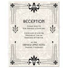 wedding reception cards wedding reception card roaring 20s deco black ivory