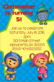 team umizoomi birthday invitation blue personalized