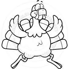 turkey running black and white line art by cory thoman toon