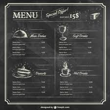editable menu templates menu template on blackboard vector free