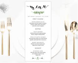 wedding menu template greenery wedding menu template