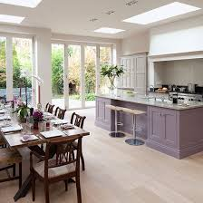 kitchen flooring ideas uk spacious grey and purple kitchen diner with oak wood floor