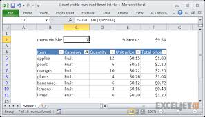 excel formula count visible rows in a filtered list exceljet