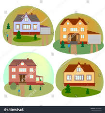 set beautiful cottage houses flat style stock vector 642366805