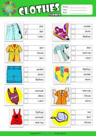 summer clothes esl printable worksheets for kids 2