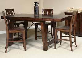 5 piece gathering table with slat back counter height chair set by