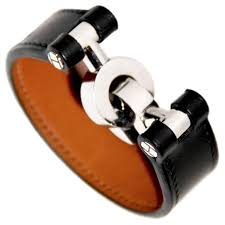 leather bracelet clasp images Hermes black box leather bracelet silver hardware handcuffs clasp jpg
