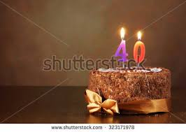 birthday chocolate cake burning candles number stock photo