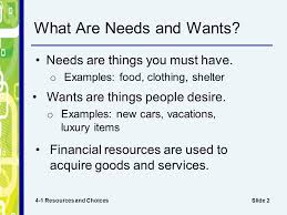 chapter 4 financial decisions and planning slide 2 what are needs