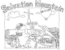 paint and pixels a salvation mountain coloring page