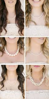 pearl necklace wedding images Matching bridesmaids with a twist pearl necklaces in this vintage jpg
