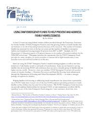 using tanf emergency funds to help prevent and address family