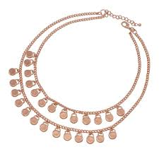 rose gold tone necklace images Gypsy two strand multi disc drop rose gold tone statement necklace jpg