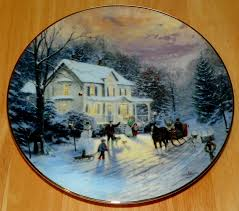 kinkade collector plate home for the holidays titled