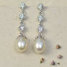 drop pearl earrings delicate drop pearl earrings by tigerlily jewellery