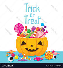 halloween pumpkin bucket with candy royalty free vector