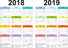 two year calendars for 2018 u0026 2019 uk for pdf