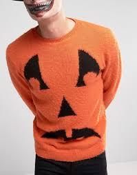 asos asos halloween jumper with pumpkin face in fluffy yarn