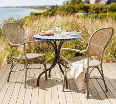 Wicker Bistro Chairs All Weather Wicker Bistro Dining Chair Pottery Barn