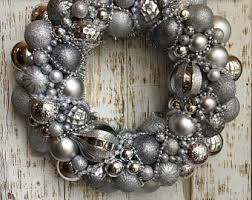 silver ornament wreath etsy