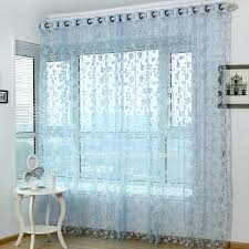 Sheer Blue Curtains Decorative Floral Pattern In Blue Color Cost Effective Sheer Curtain
