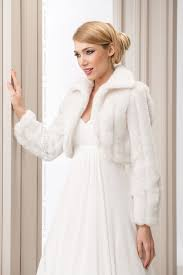 wedding ivory faux fur shrug bridal bolero jacket coat long sleeve