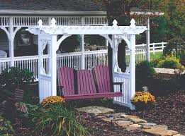 exterior white wooden porch swing canopy frame with purple wooden