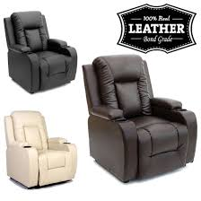Real Leather Recliner Sofas by Oscar Leather Recliner W Drink Holders Armchair Sofa Chair