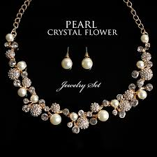 crystal pearl necklace set images Rs gown crystal pearl necklace amp pierced earrings set lt jpg