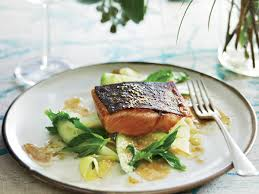 barbecued salmon with green mango salad recipe pete evans food