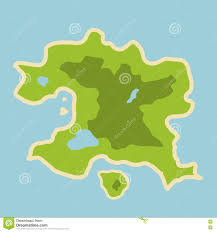 Fantasy Map Flat Illustration Of Fantasy Map Of Fictional Island In The Midd