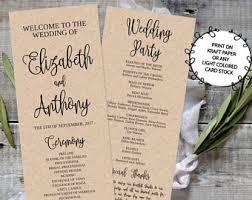 wedding program paper stock wedding program fan template printable editable fall