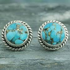 turquoise stud earrings sterling silver composite turquoise stud earrings cool aqua