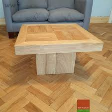 coffee table made of parquet blocks and engineered wooden floor