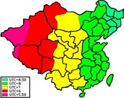 utc zone map in china