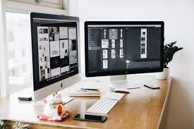 free stock photo of apple computer desk