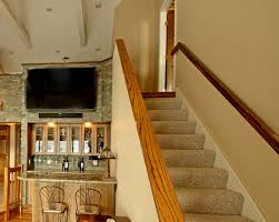 interior stair and railing design ideas photos and descriptions oak railings have a custom stain requested by the homeowners to match existing oak features