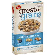 Breakfast Food Cereal Walmart Com by Post Great Grains Blueberry Morning Whole Grain Cereal 13 5 Oz