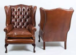 Chairs Armchairs Pair Of Leather Ball And Claw Wing Chairs Armchairs For Sale At