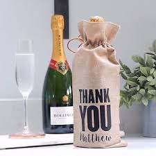 wine bottle gift bags personalised thank you wine chagne bottle gift bag