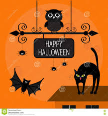 happy halloween free clip art cat arch back kitty on roof flying bats owl spider wrought