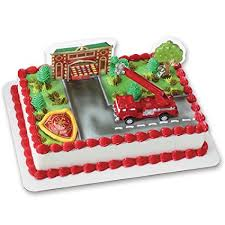 firetruck cakes truck and station decoset cake decoration toys