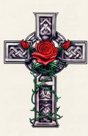 cross with red rose tattoo design