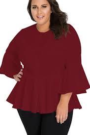 plus size blouse crochet insert bell sleeve plus size blouse mb250415 3