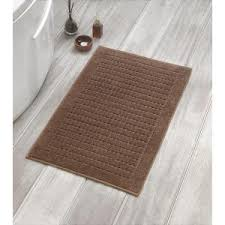 interdesign leaves 34 in x 21 in bath rug in brown tan 17411
