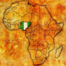 map of nigeria africa nigeria on actual vintage political map of africa with flags stock
