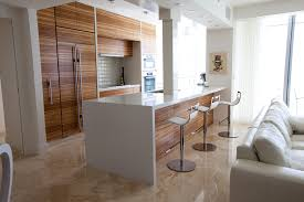 Contemporary Walnut Kitchen Cabinets - zebra wood cabinets kitchen contemporary with counter stools flush