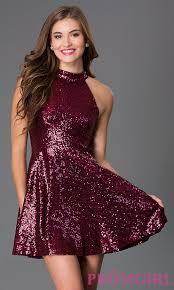 image of short merlot fit and flare high neck sequin party dress